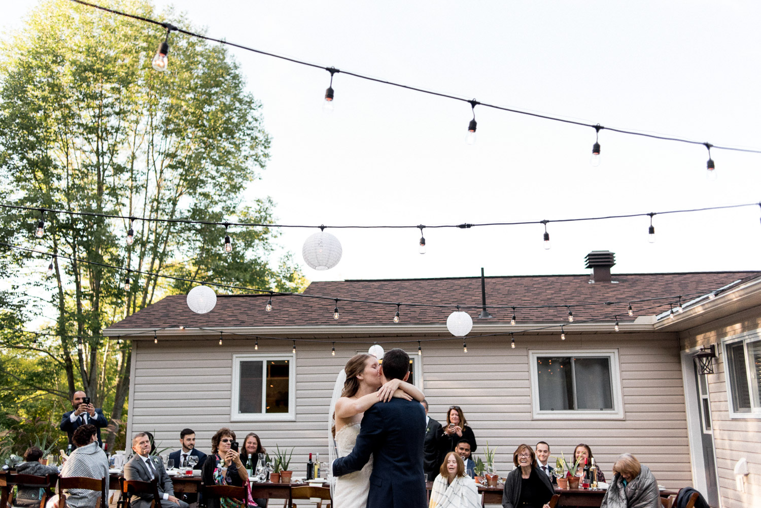 outdoor first dance at Ontario cottage