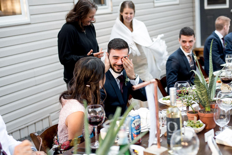 wedding guest crying after wedding speech