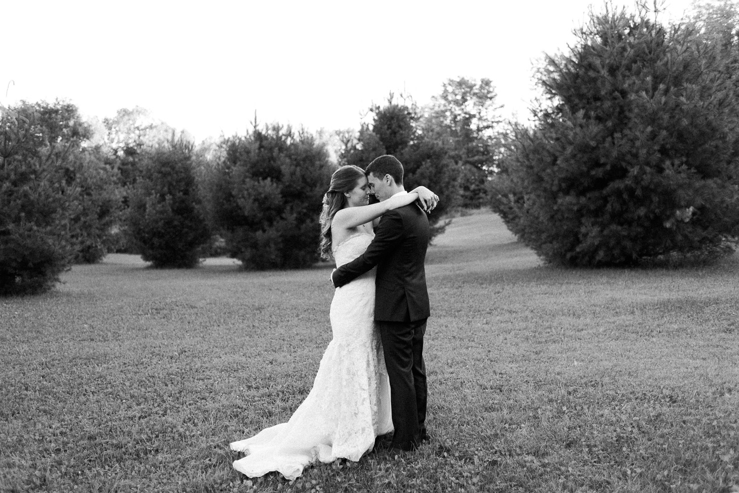 black and white photo of newlyweds