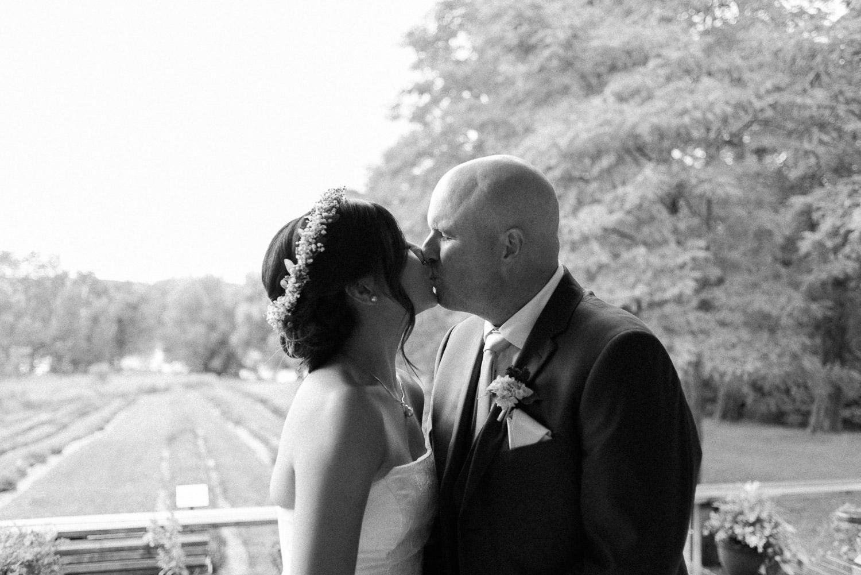 lavender farm elopement ceremony kiss
