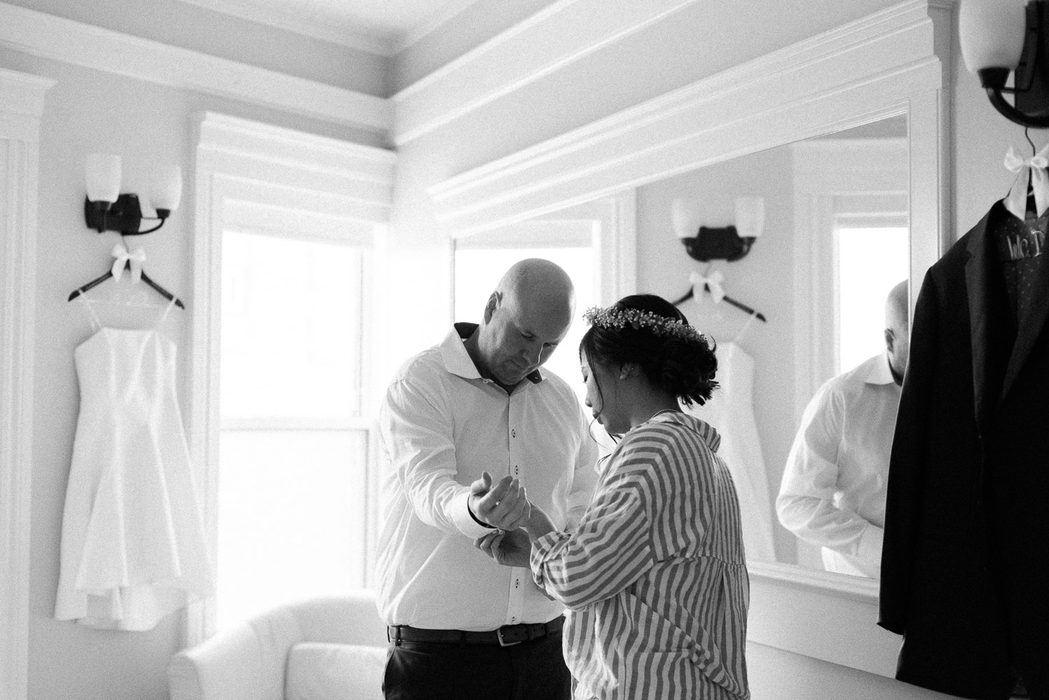 Couple getting ready for their elopement